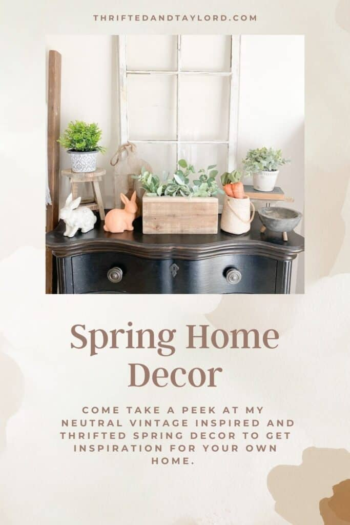 Take a peek at my spring home tour full of vintage and vintage inspired items, as well as thrifted home decor. This image shows a black entryway table with an antique window, various spring decor, some small potted plants, and some wood decor items.