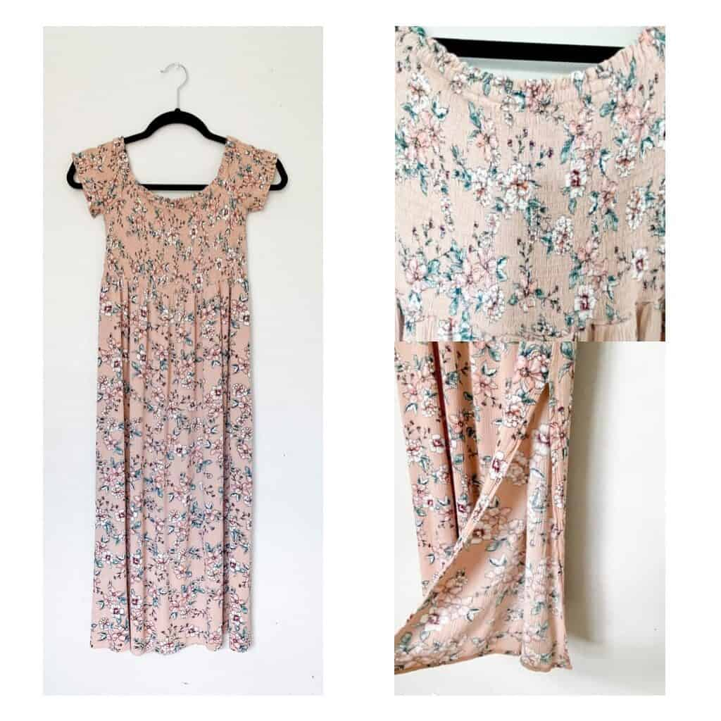 A light pink midi length dress with small flowers on it.