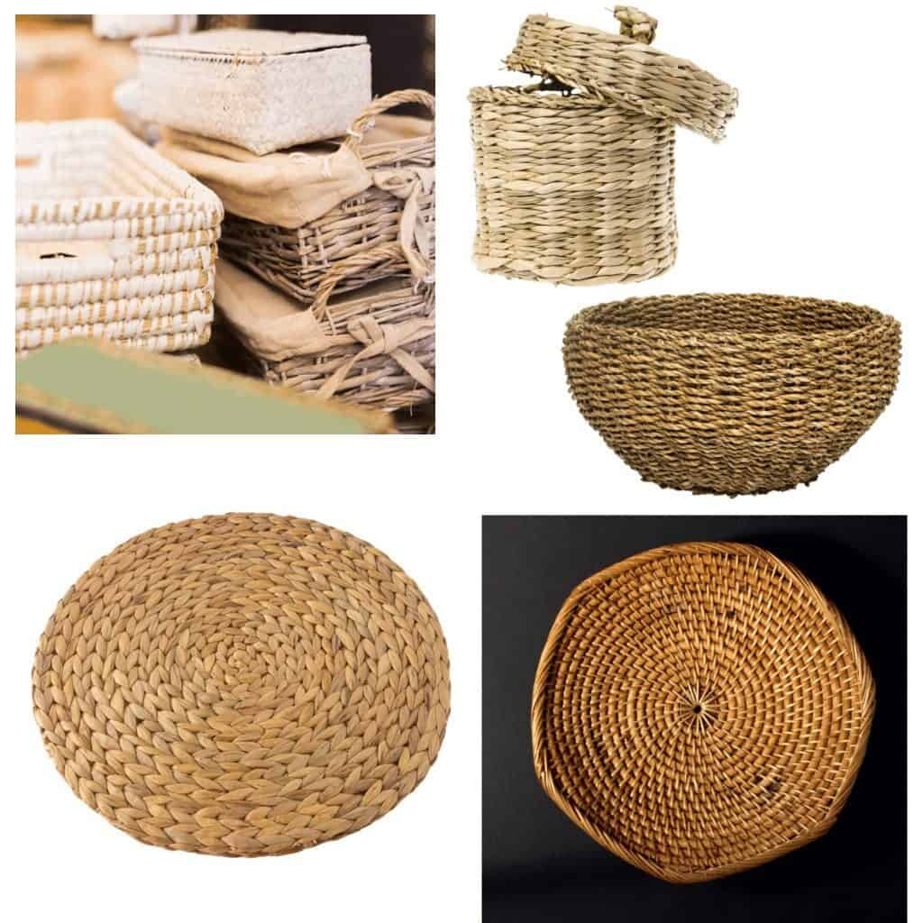 Add warmth and make your home cozy by decorating with wicker pieces such as this collection of different style wicker baskets, a wicker container with a lid, a wicker bowl, a wicker charger for place settings, or this wicker wall display.