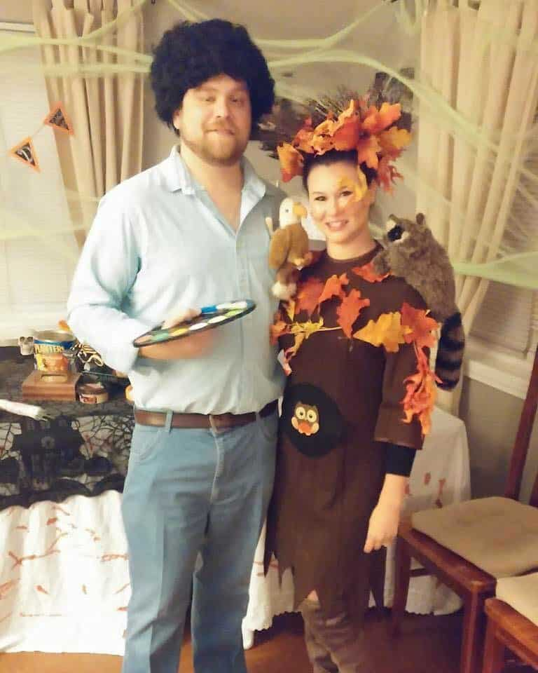 Bob Ross and his Happy little tree. A fun DIY Halloween Costume idea. Great for a couple costume.