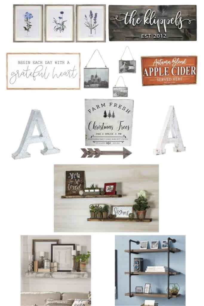 """Images include a set of 3 botanical prints, a wood sign with the name of a family in 3-d cursive wood letters, a wood framed sign that says """"gather here with grateful hearts,"""" a set of 3 assorted sized metal framed floating artwork hanging frames, a wood apple cider sign with an orange background, a wood white letter A, a metal letter A, a wood Christmas tree farm sign, a wooden arrow, and 3 photos of assorted floating shelves with decor on them."""