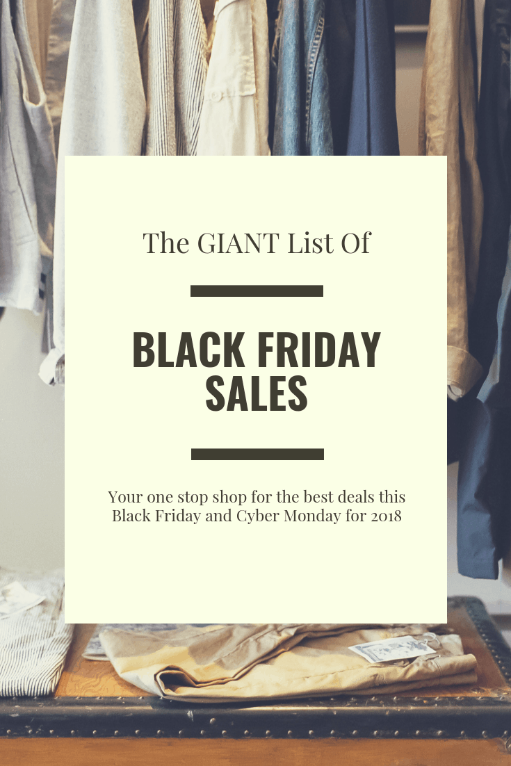 The GIANT List of Black Friday 2018 Sales