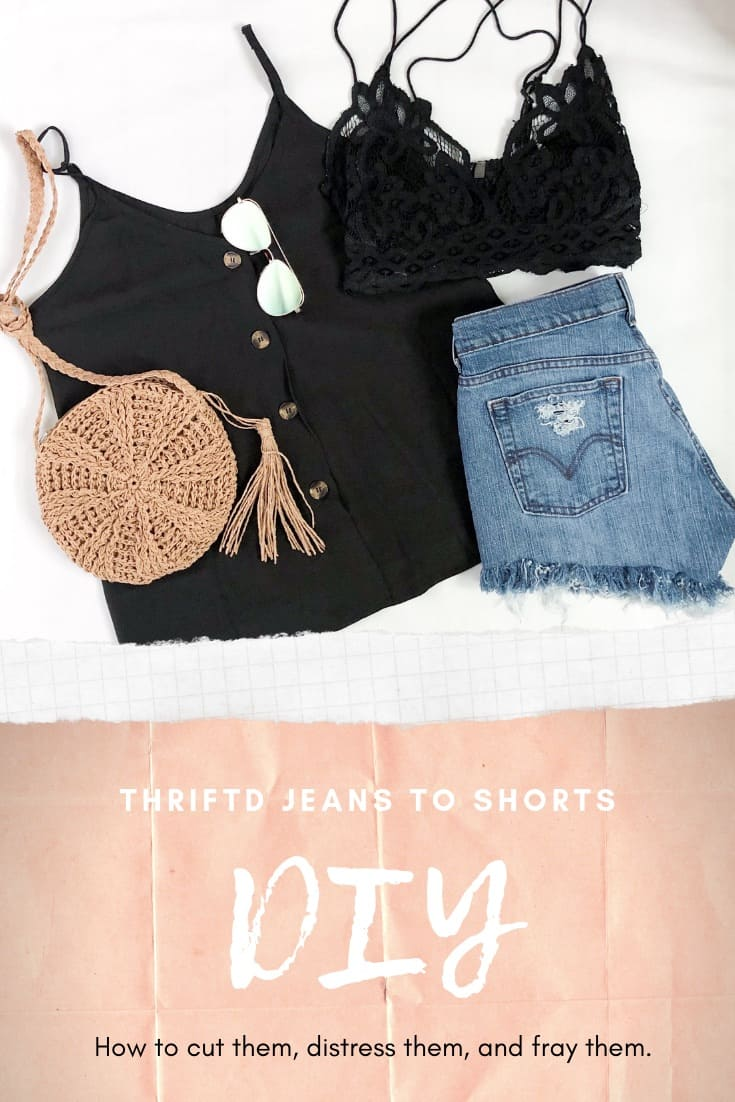 DIY Denim Shorts | Thrifted Jeans Into Shorts