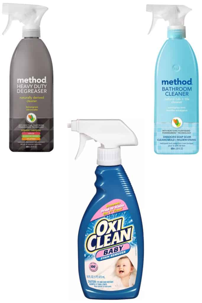 My current favorite cleaning supplies. The cleaning supplies are made with naturally derived ingredients (not including the stain remover)