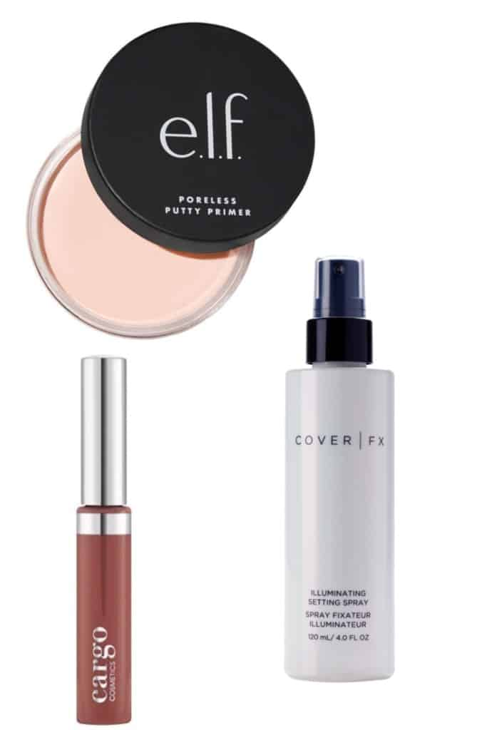 These are the new makeup products I have been loving this month. Putty primer from ELF, Cargo Cosmetics Swimmables Liquid Lipstick, and Cover FX Illuminating setting spray. Check out the article for a discount code for 20% off your order at Cargo Cosmetics.