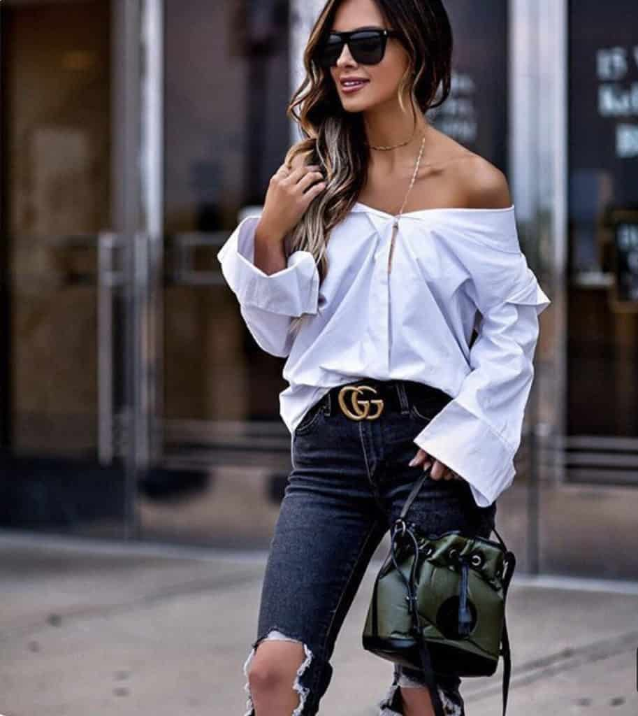How to style a button down shirt. Wear it slightly unbuttoned and off the shoulder.