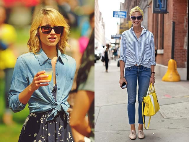 How to style a button down shirt. Wear it over a dress or with jeans and tie up the bottom of the shirt.