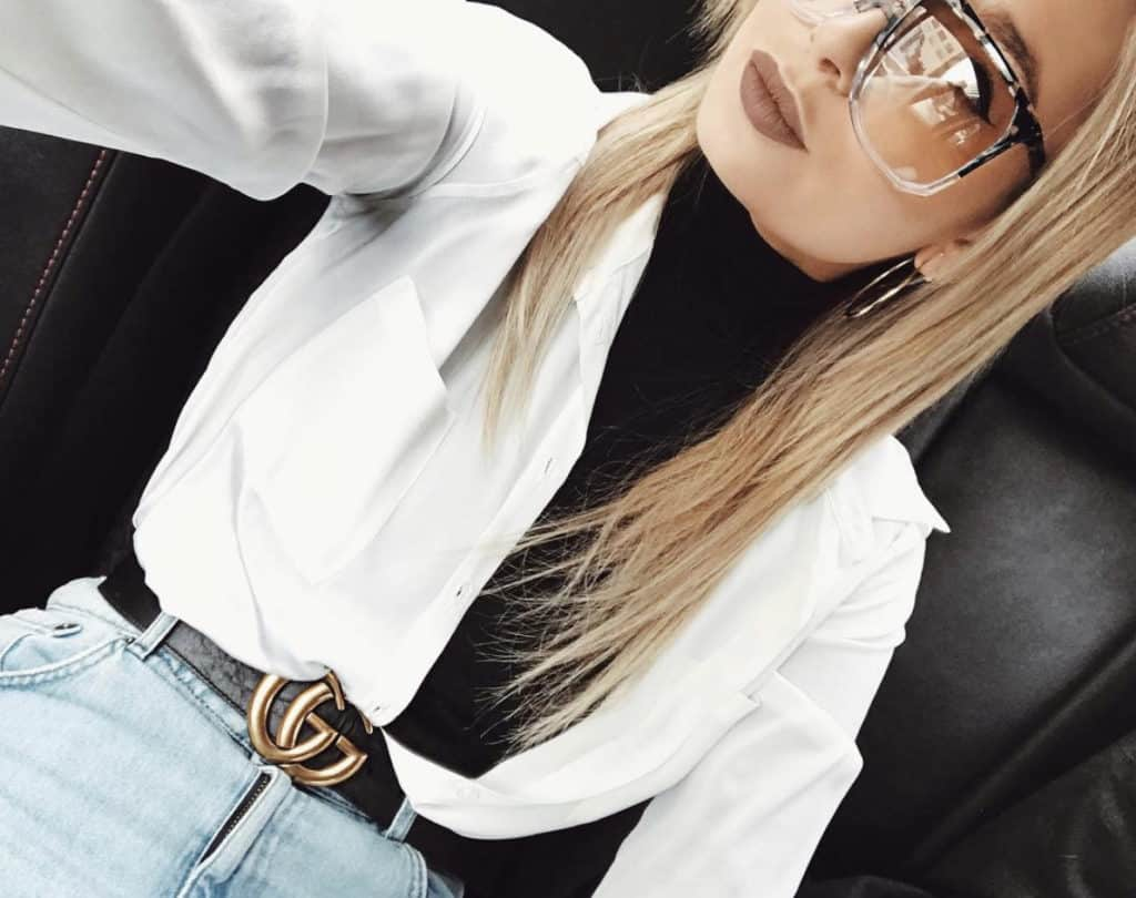 How to style a button down shirt. Wear it open but tucked in and pair it was something unexpected like a turtleneck.