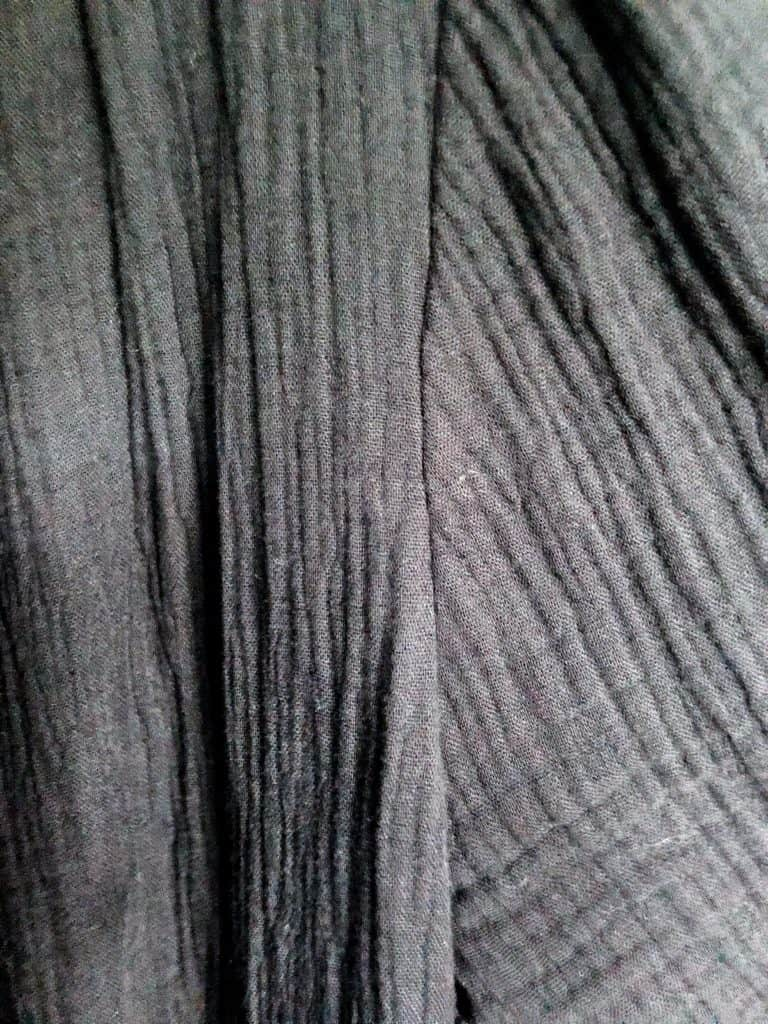 A close up to show the texture of the black cardigan.