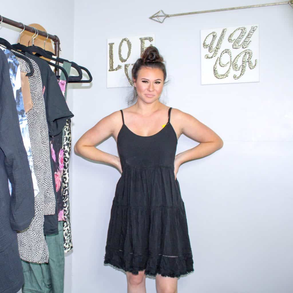 Thrift Store Finds | A little black sundress that can be layered for fall.