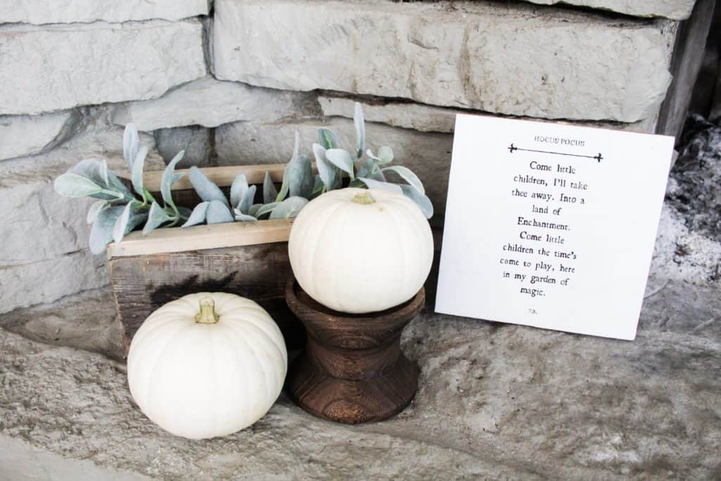 This upcycled Hocus Pocus sign is a DIY project I made from a thrifted wood sign. It pairs well with these white pumpkins, wood accents, and some lambs ear greenery.