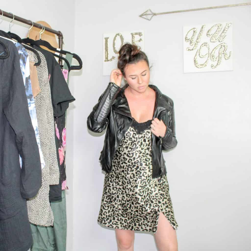 Fall Thrift Haul | This satin leopard print slip dress is amazing paired with a leather jacket for fall. Animal print is a big trend for fall so this dress is perfect.