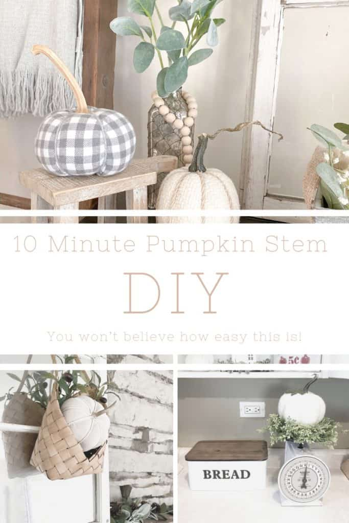 In this quick and easy pumpkin stem DIY you can instantly transform your faux pumpkins to make them look more expensive and to give them more texture. Find out how!