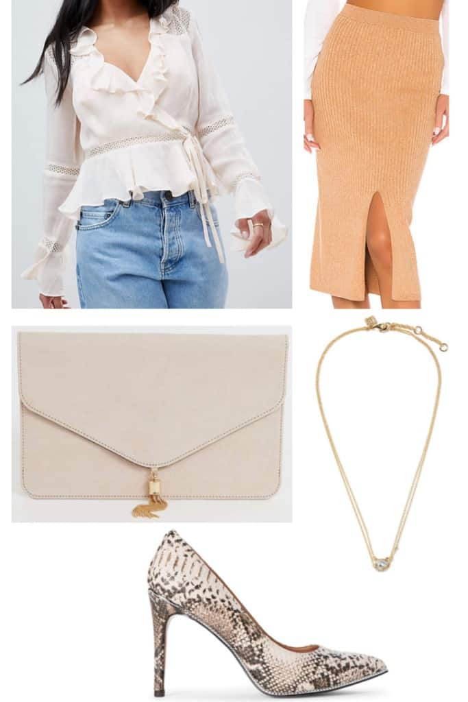 In need of some outfits to wear for Thanksgiving? Check out these 5 options which are trendy and won't break the bank. This Thanksgiving outfit is perfect if you want something more feminine and dressed up.