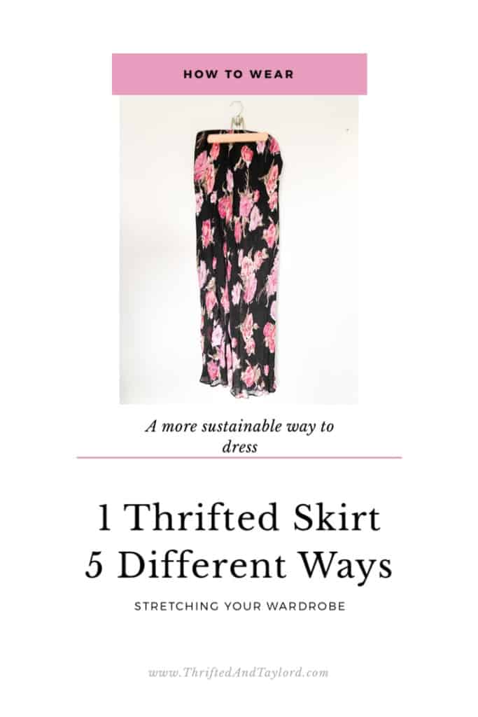 Living more sustainably is one of my goals this year. One way I plan to do that is to get more uses out of items of clothing. Find out how to stretch your wardrobe by wearing 1 item in different ways. Check out these 5 trendy outfits I made using 1 skirt.