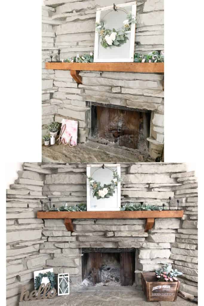 You might be surprised by how easy it can be to redecorate on a budget. Here you can see how I changed up my spring decor on our fireplace. Find out a few simple ways to do this in your own home!