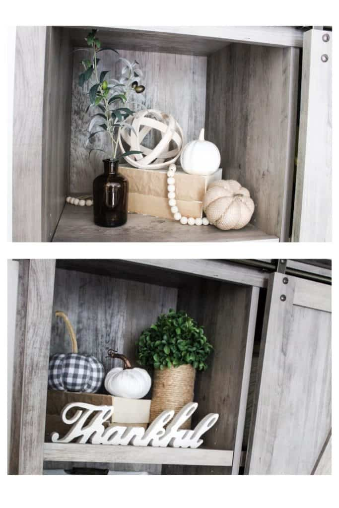 You might be surprised by how easy it can be to redecorate on a budget. Here you can see how I changed up my fall decor on our bookshelf. Find out a few simple ways to do this in your own home.!