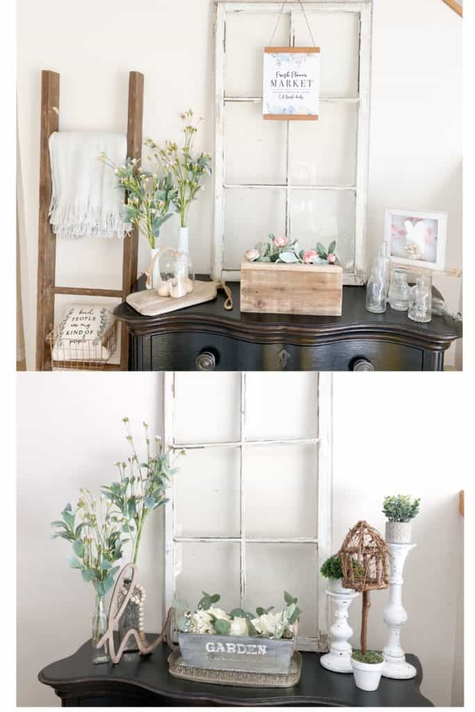 You might be surprised by how easy it can be to redecorate on a budget. Here you can see how I changed up my spring decor on this entryway table. Find out a few simple ways to do this in your own home!
