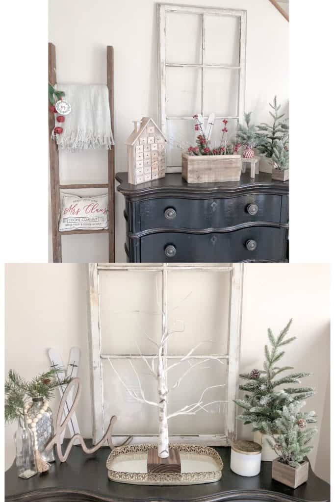 You might be surprised by how easy it can be to redecorate on a budget. Here you can see how I changed up my winter decor on this entryway table. Find out a few simple ways to do this in your own home!
