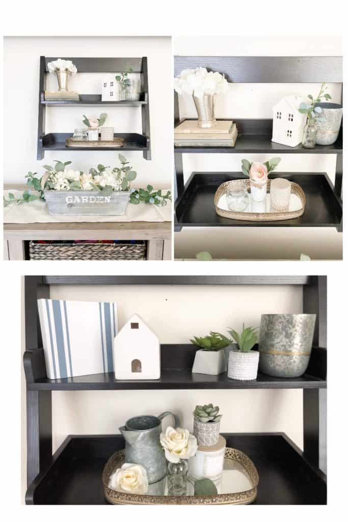 You might be surprised by how easy it can be to redecorate on a budget. Here you can see how I changed up my spring decor on these shelves. Find out a few simple ways to do this in your own home.!