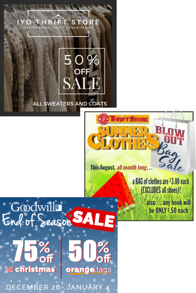 Shopping sections that are off season to get great deals is one of the many thrifting tips and tricks I have listed for you to be able to shop like the pros! Come check out the rest and make your thrifting trips awesome every time.