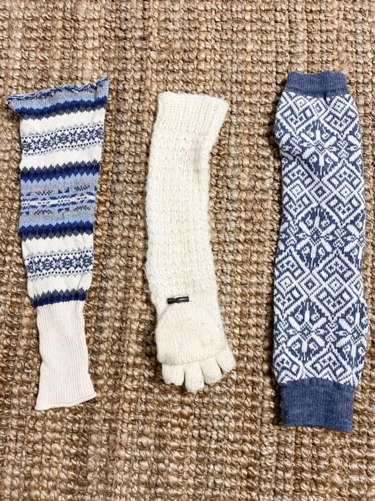 @ leg warmers that are cream and blue patterned and one cream knit glove which are what I used for the material for my DIY sweater pumpkin project.