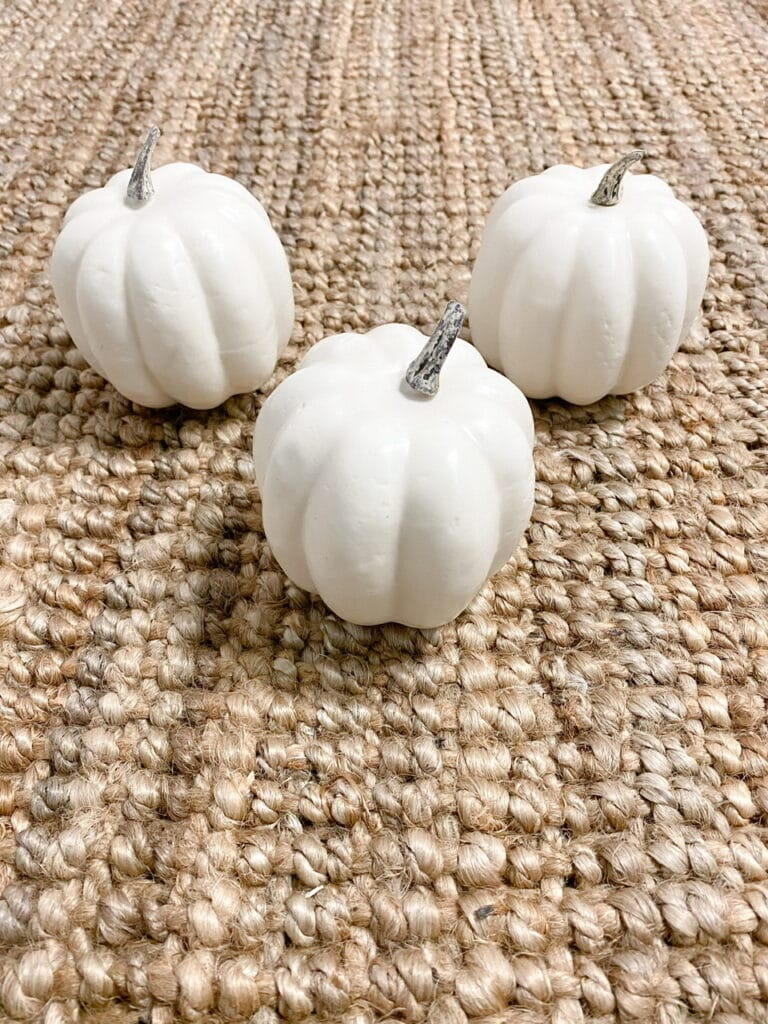 These white foam artificial pumpkins are what I used as the base of my sweater pumpkins.