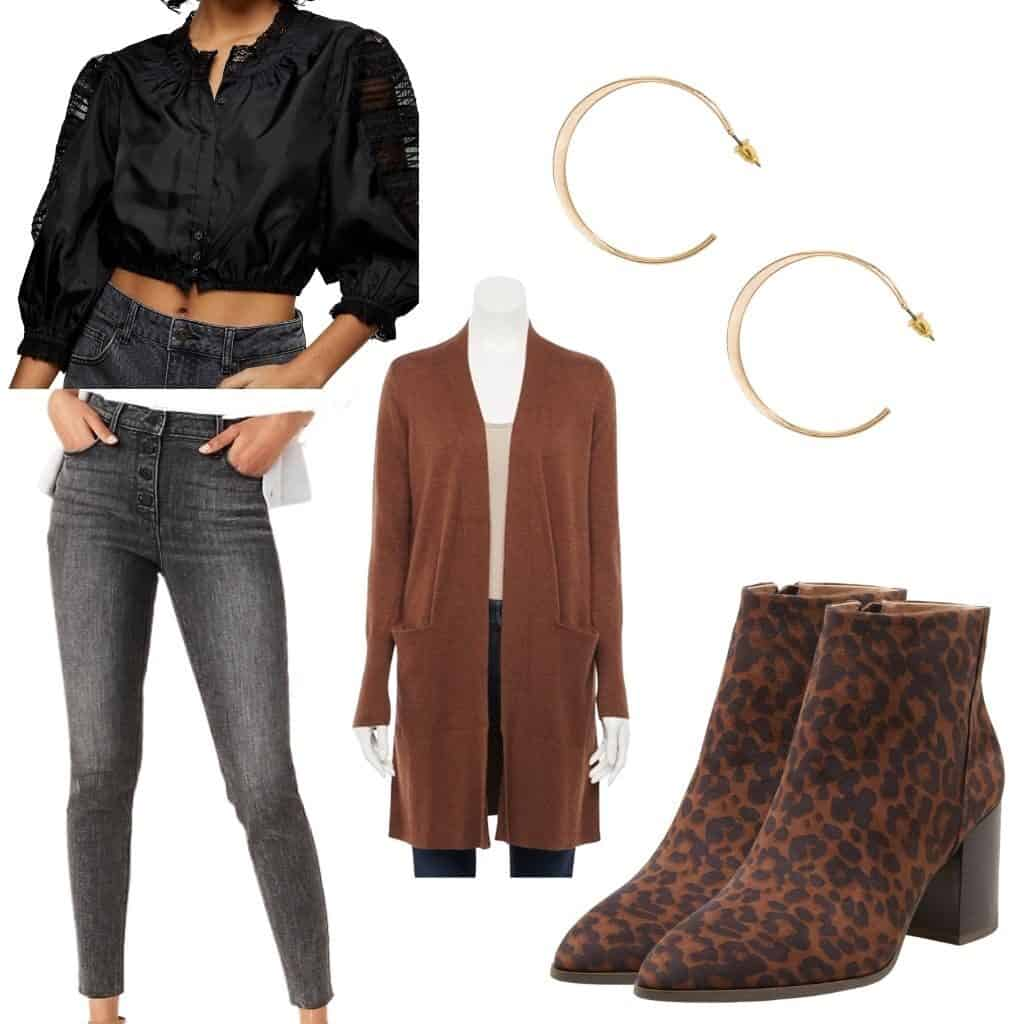 These casual Thanksgiving outfits will have you looking good and feeling comfortable. This outfit features A brown duster cardigan, a black feminine blouse, faded black jeans with a button fly, gold hoops, and leopard print boots.