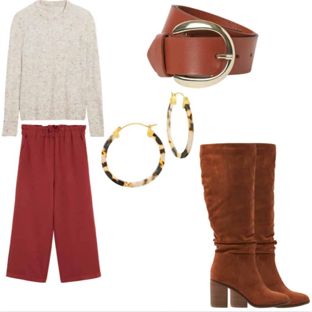 These casual Thanksgiving outfits will have you looking good and feeling comfortable. This outfit features A cream sweater with colorful speckles, burgundy cropped wide leg trousers, a brown belt, tortoiseshell hoops, and some brown slouchy calf height boots.