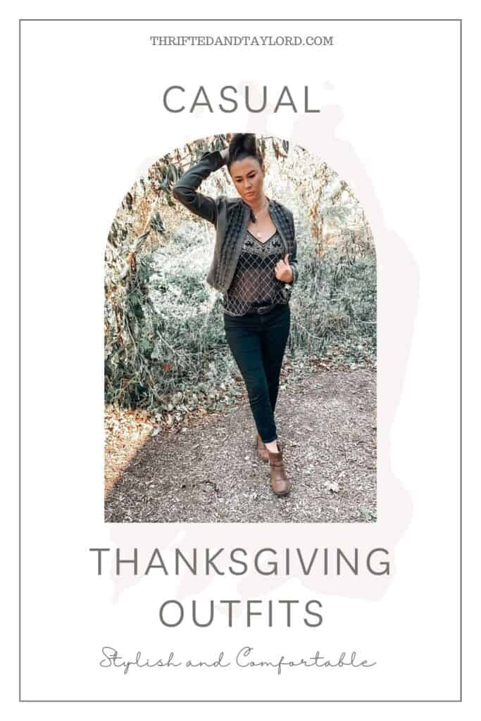 Thanksgiving looks a little different this year, but being home doesn't mean you can't get a little dressed with. These trendy casual outfits fit the bill perfectly. The photo shows a woman wearing a black leather jacket over a beaded tank top with black jeans, a black belt, and some brown booties.